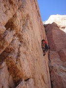 Rock Climbing Photo: Buster Jesik leading I Claudius.  Photo by Dave Wa...