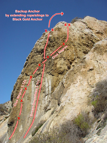 """""""Olas Negras"""" 5.12a and """"Brown Smoothies"""" 5.11c can be found 30' or so to the right of """"Black Gold"""" on the El Dorado formation."""