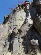 Rock Climbing Photo: Routes 14 through 17. As of 9/2010, the bolts on G...