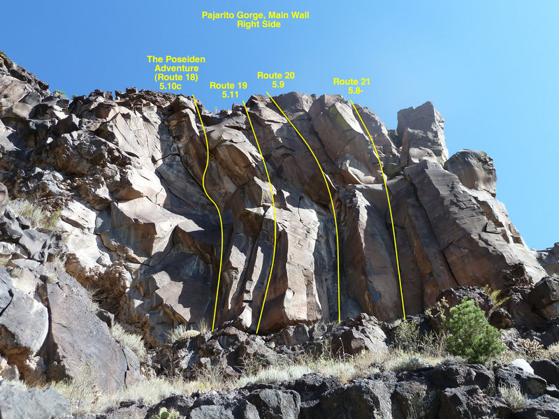 Rock Climbing Photo: The right side of Pajarito Gorge, Routes 18 throug...