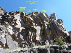 Rock Climbing Photo: The right side of Pajarito Gorge, Routes 18 throug...
