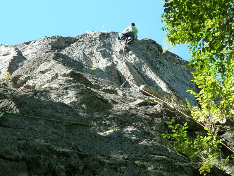 Rock Climbing Photo: Jakob loving the top half of Scrubbing Bubbas. B-B...
