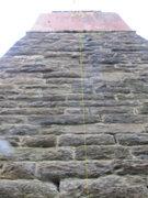 Rock Climbing Photo: Faith follows the yellow line up the center of the...