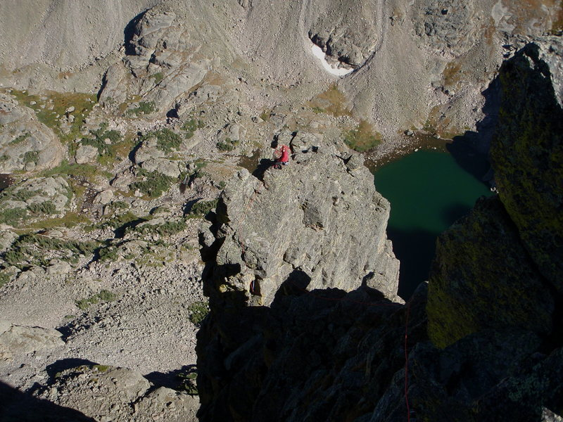 Rock Climbing Photo: Frosty belaying at the top of the main buttress.