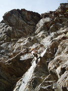 Rock Climbing Photo: Paavo Thabit midway up Goat Goes Up. The route dia...