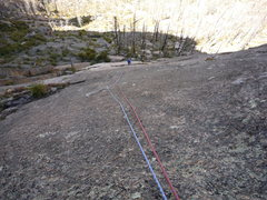 Rock Climbing Photo: Looking down pitch 2.