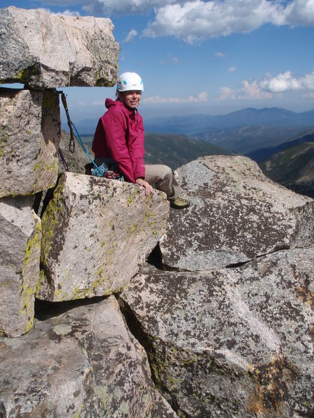 Sitting at the Summit of Devils Thumb, Indian Peaks Colorado, Exposed but it was a great climb with Steve-o August 2010