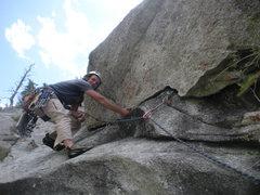 Rock Climbing Photo: All grins on P7 traverse... unfortunately we ran t...