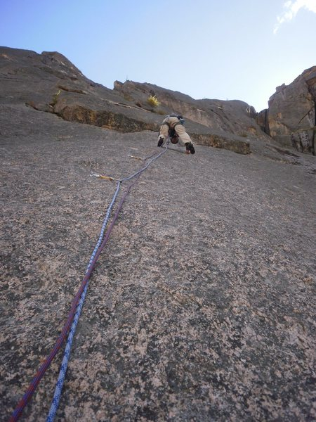 Approaching the crux on pitch 2.