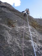 Rock Climbing Photo: Crux of pitch 4.