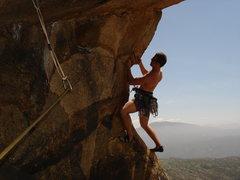 Rock Climbing Photo: JD savors the short second pitch traverse