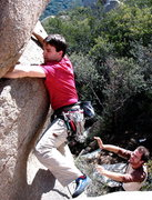 Rock Climbing Photo: JD begins the funky PG13 traverse on the Marshmall...
