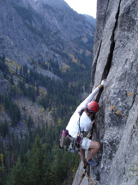 """unknown climber on the 5.10 """"direct"""" first pitch of Outer Space."""