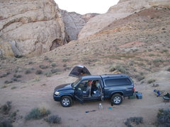 Rock Climbing Photo: More of the camp and the entrance to Three Finger ...