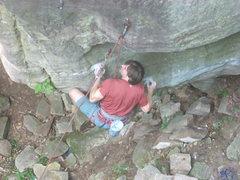 Rock Climbing Photo: Flunky in crux.