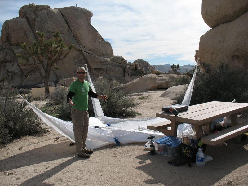 Rock Climbing Photo: the desert wind claims JD's pop-up tent, wrecks ou...