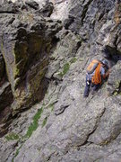 Rock Climbing Photo: Downclimbing / traversing off of the summit of Not...