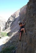 Rock Climbing Photo: Angela cruising up Clip Jr on the Warm Up Wall. (R...
