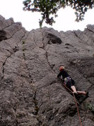 Rock Climbing Photo: Jon at the start of Pure Joy (upper left crack) an...