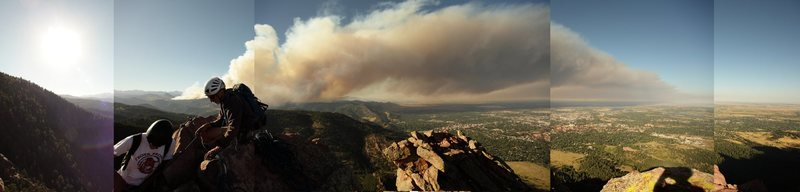 From the summit, 9/5/10, shortly after the fires began.<br> <br> Posted with permission.
