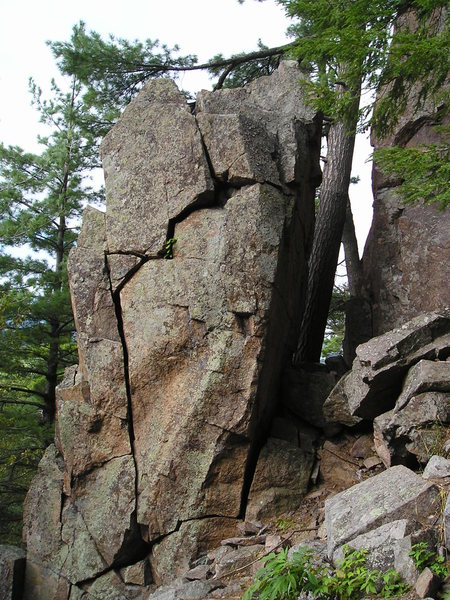 """Bobs wall is behind this rock,(lower portion) of cliff face.Starting  at this """"free standing rock column"""" is Group Grope wall more of a corner) then, the Main Wall"""