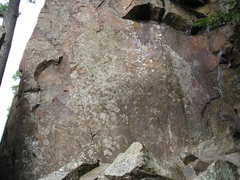 Rock Climbing Photo: 5.11 route follows the thin crack  on the smooth r...