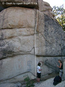 "Rock Climbing Photo: ""Death by Ugaah Bugah"", 5.11a, Arrowbear..."