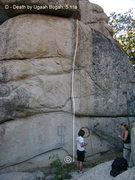 "Rock Climbing Photo: ""Death by Ugaah Bugah"", 5.11a, Arrowbear..."