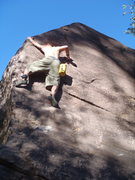 Rock Climbing Photo: My brother Justin sending the arete, the top bit i...