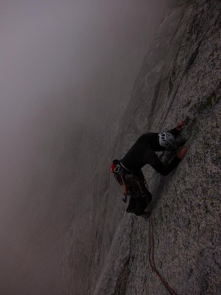 Graham in the fog on the first ascent.