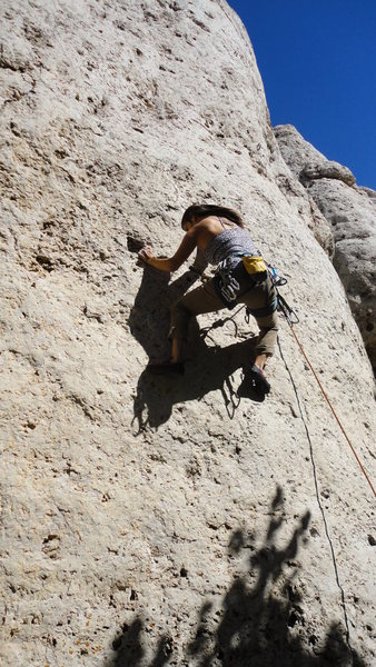MB cruising through the crux.