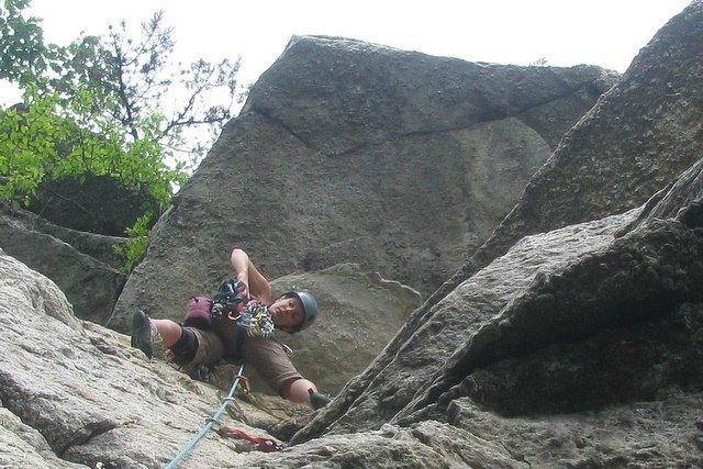 Heather learning to lead on Disneyland, Gunks