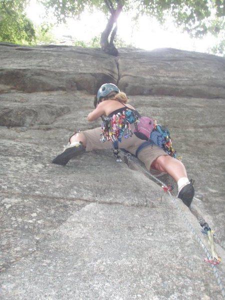 Rock Climbing Photo: Heather leading Finger Locks or Cedar Box