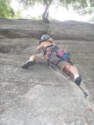 Rock Climbing Photo: Heather leading Finger Locks or Cedar Box