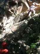 Rock Climbing Photo: Heather leading Rack for Sale at Rumney