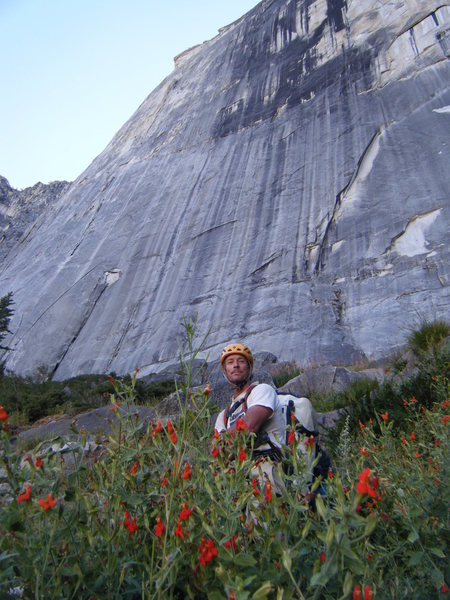 Rock Climbing Photo: JA near the base of Half Dome, Sept. 2010.