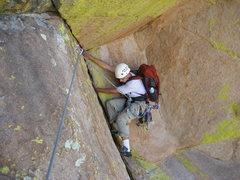 Rock Climbing Photo: Zach Libbin following the P1 crux undercling.