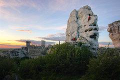 Rock Climbing Photo: Climbing with Ogrodzieniec Castle in the backgroun...