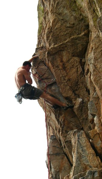 Rock Climbing Photo: David Hein on the red point.