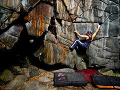 Rock Climbing Photo: Kate Scott locked in with the shallower of the two...