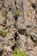 Rock Climbing Photo: An unknown climber enjoys an early fall season asc...