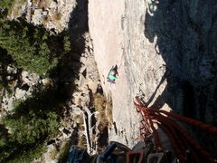 Rock Climbing Photo: Looking down at the 5.8 slab start with little to ...