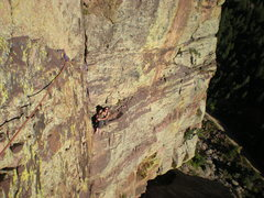 Rock Climbing Photo: Looking back at the belay on the 'Reaper' traverse...