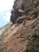 Rock Climbing Photo: View of overhanging section from Base Camp. A smal...