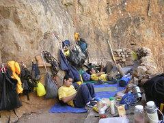 Rock Climbing Photo: JM lounging around at base camp with photographers