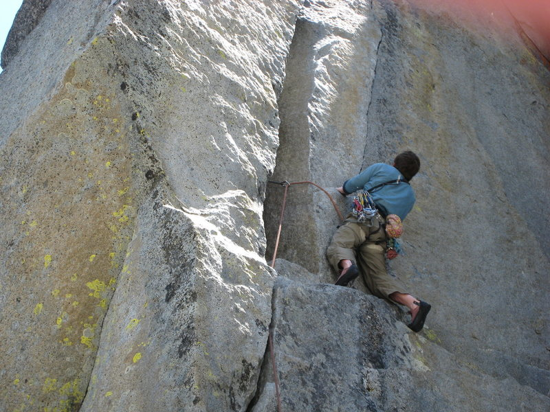 Rock Climbing Photo: Taking the overhanging, 12a finger crack variation...