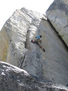 Rock Climbing Photo: Launching into the most sustained part of the rout...