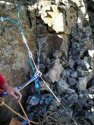 Rock Climbing Photo: My 5 piece anchor amungst the rubble that is the t...