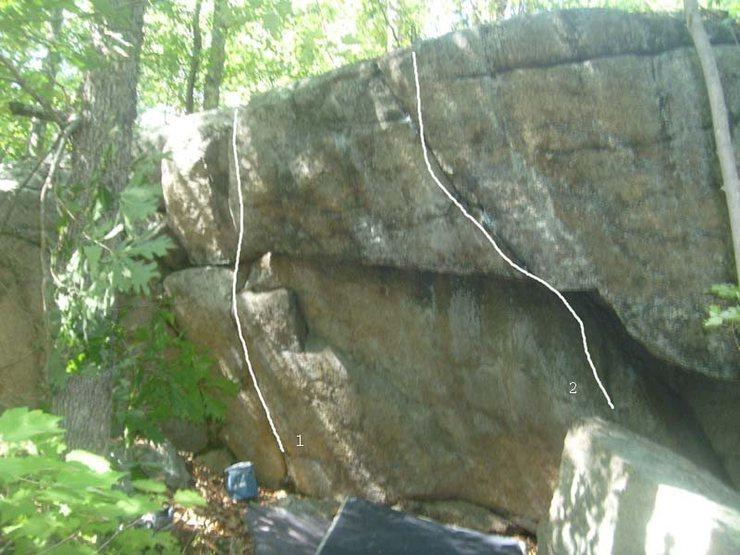 Rock Climbing Photo: 1. The Gash, V2. 2. One Track Mind, V6.