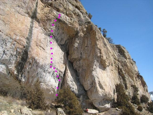 Rock Climbing Photo: I added dots onto Monomaniacs photo.